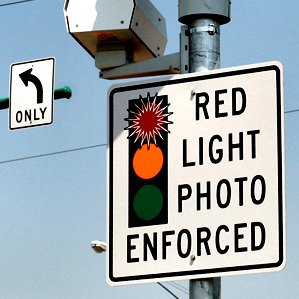 Red Light Photo Enforced Sign